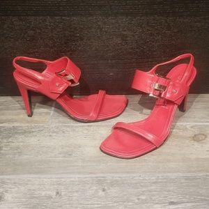 Casadei Red Italian Leather Heeled Sandals